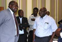 Professor Bartholomew Dicky Akamori (right) from WHO/AFRO speaking with the Minister of Health Dr. Chitalu Chilufya