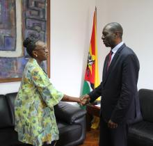 Dr Moeti when she paid a courtesy call on the Prime Minister of Mozambique, Dr Carlos Agostinho do Rosario