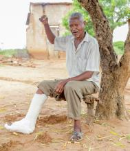 James Kimeu Mulei, 60, who thanks to affordable health insurance received treatment for a broken leg