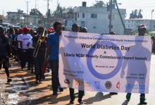 Cross session of participants during the WDD march in Monrovia