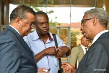 Dr Tedros (left) interacts with Professor Omaswa and Dr Tegegn the WHO Country Representative in Uganda