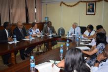 Dr Hon. A. Husnoo, Minister of Health and Quality of Life (centre) chairing a meeting with the mission team from St Helena Island