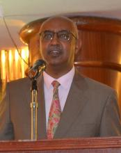 Dr Rashid Aman, Chief Administration Secretary, MOH Kenya speaking during the MNTE event