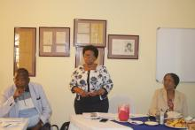 The Officer in Charge of Eswatini WHO Country Office, Dr Khosi Mthethwa making remarks during the debriefing meeting