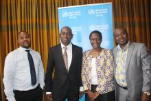 The scoping team from right to left: Dr Stanley Midzi ,Dr Juliet Nabyonga ,Dr. Akin. Oyemakinde and an officer from the Ministry of Health