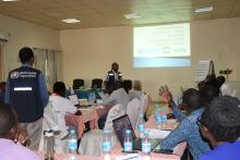 Mr Alex Freeman of WHO making a presentation on strengthening Emergency WASH Response in Health facilities