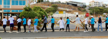 Human solidarity chain in Praia, Cabo Verde