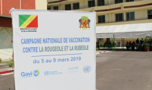 Sign at a measles and rubella vaccination campaign in Brazzaville