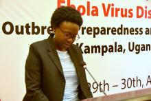 Minister of Health Dr Jane Ruth Aceng makes her remarks to open the meeting