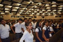 Students attending the official launching of activities in the context of the World Health Day 2019
