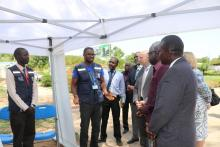 Dr Kaba the Ebola Vaccination cordinator briefing the US Ambassador, Hon Minister, WR, and other senior officials