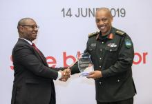 General Nyamvumba was among donors awarded for their gift of blood