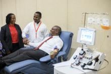Minister of State in Ministry of Health donating blood