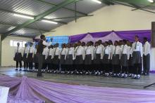 Mlumati High School choir singing a song on deworming