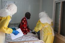 During the SIMEX - Health workers received suspected Ebola patient in the Infection Diseases Unit in Juba