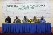 L-R Dr Ongom Moses (WHO HSS Cluster TL)_OiC_Directors for Federal Ministry of Health