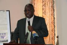 Hon. Dr Martin Elia Lomoro, Minister of Cabinet Affairs, making remarks on Government of South Sudan commitment