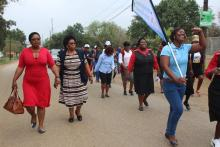 Participants participating in a walk