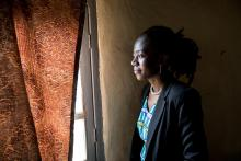 Huguette Vithya, photographed here is an Ebola Survivor, in Butembo - North Kivu - DRC. Credit: UNEERO/Martine Perret