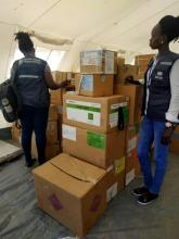 Members of the WHO mobile medical team inspecting medical supplies delivered to Mayom County, in the Greater Unity Region to support flood affected communities.