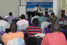 Participants during a session of the  IDSR training in Juba