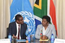 Dr Owen Kaluwa, the  World Health Organization Representative in South Africa and the Deputy Minister of International Relations and Cooperation, Ms Candith Mashego-Dlamini.