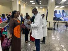 Minister of Health and WHO Representative during coronavirus screening on arrival at Kigali Aiport