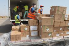 Donated Materials being loaded to be transported to the Central Medical Stores of the Ministry of Health before distribution to health facilities.
