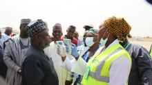 Port health services screening arriving passegners for temperature at Maiduguri international airport._Photo_WHO_C.Onuekwe_
