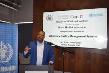 "Dr L. Musango emphasizing that ""laboratory is one of the 10 pillars in management and prevention of COVID-19 and strengthening laboratory services and systems is essential for universal access to high quality laboratory diagnostic services."""