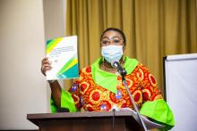 Honourable Deputy Minister for Health, Madam Tina Mensah officially launching the strategic document
