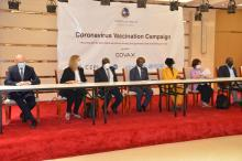 Dignitaries at the launching ceremony of the COVID-19 vaccination campaign in Monrovia