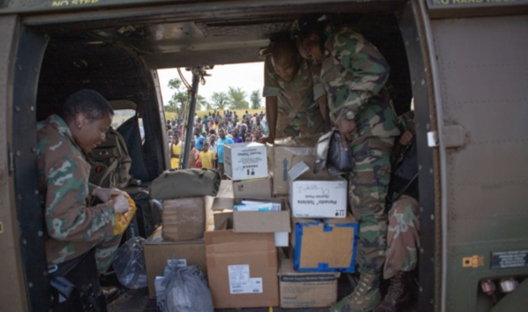 A South African army helicopter loaded with essential medicines.