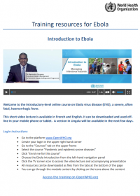 Knowlege resources for Ebola