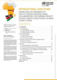 Addressing determinants of health through intersectoral collaboration: fish farming project in South Imenti constituency in Meru County, Kenya
