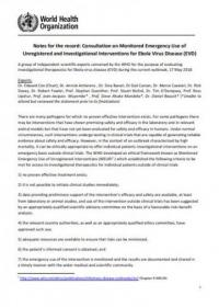 Notes for the record: Consultation on Monitored Emergency Use of Unregistered and Investigational Interventions for Ebola Virus Disease (EVD)
