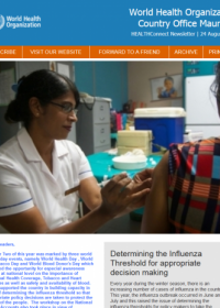 WHO Mauritius e-Newsletter 24 August 2018 : Determining the Influenza Threshold