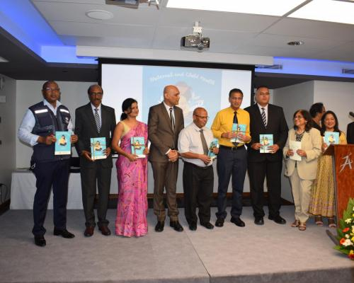Launching of the Maternal and Child Health Handbook to improve the health of Mothers and Babies by  Dr Hon K. K. Jagutpal, Minister of Health and Wellness in the presence of Regional Health Directors, Director General Health Services and WHO Representative in Mauritius, Dr Laurent Musango